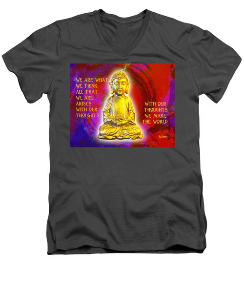 Men's V-Neck T-Shirt featuring the photograph Buddha's Thoughts 2 by Ginny Gaura