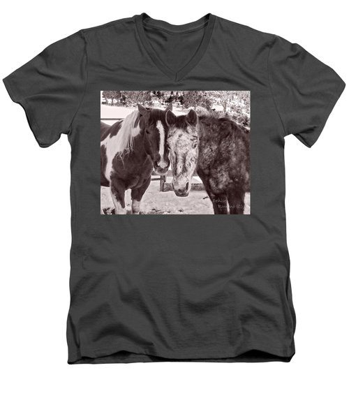 Men's V-Neck T-Shirt featuring the photograph Buddies In Snow by Denise Romano