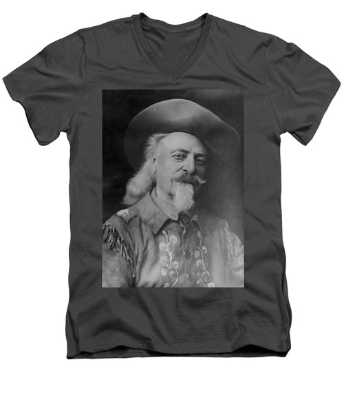 Men's V-Neck T-Shirt featuring the photograph Buffalo Bill Cody by Charles Beeler