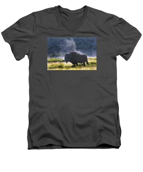 Men's V-Neck T-Shirt featuring the photograph Buffalo Steam-signed-#2170 by J L Woody Wooden