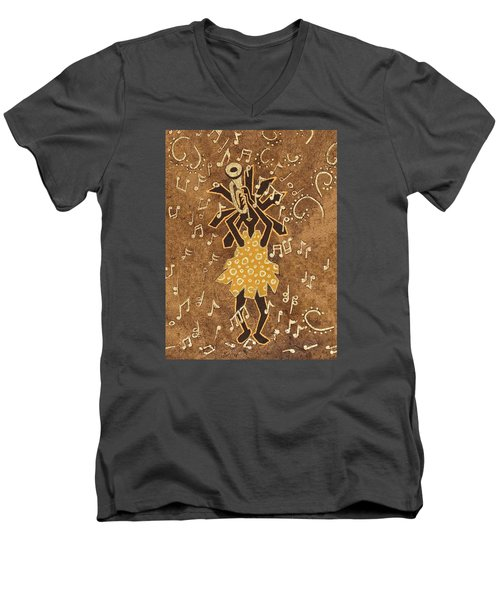 Bugle Player Men's V-Neck T-Shirt by Katherine Young-Beck