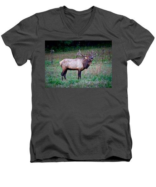Men's V-Neck T-Shirt featuring the photograph Bugle Solo From Bull Elk by John Haldane