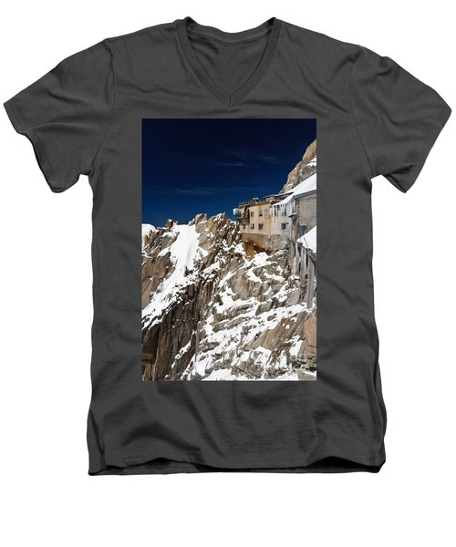 Men's V-Neck T-Shirt featuring the photograph building in Aiguille du Midi - Mont Blanc by Antonio Scarpi