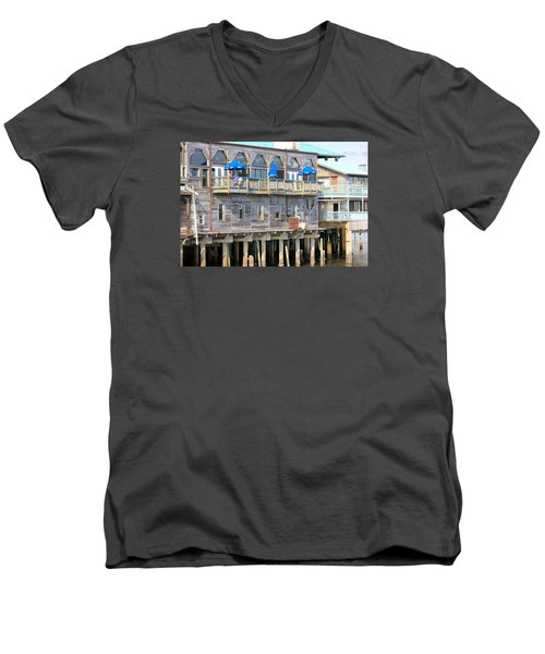 Men's V-Neck T-Shirt featuring the photograph Building On Piles Above Water by Lorna Maza