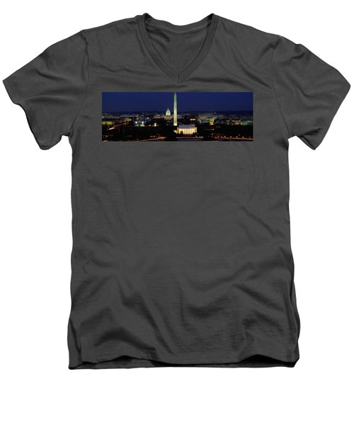 Buildings Lit Up At Night, Washington Men's V-Neck T-Shirt by Panoramic Images