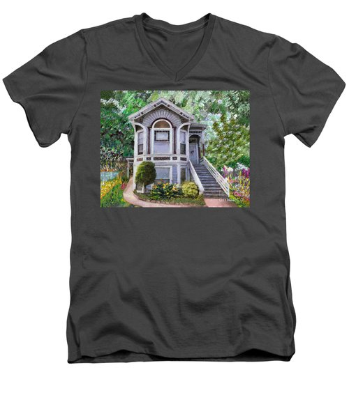 Men's V-Neck T-Shirt featuring the painting Alameda 1895 Queen Anne by Linda Weinstock