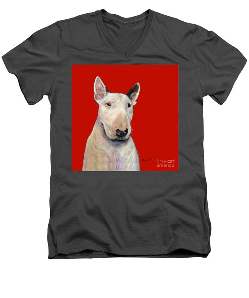 Bull Terrier On Red Men's V-Neck T-Shirt