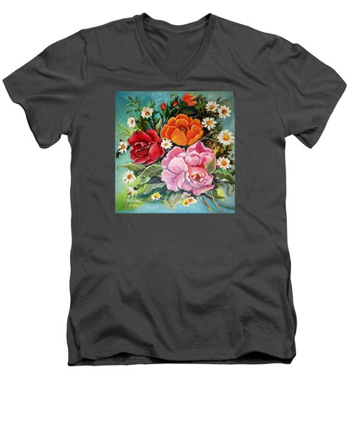 Bunch Of Flowers Men's V-Neck T-Shirt by Yolanda Rodriguez