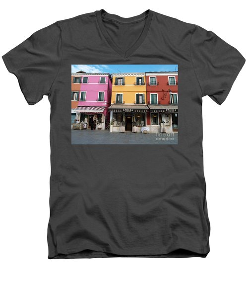Men's V-Neck T-Shirt featuring the painting Burano by Robin Maria Pedrero