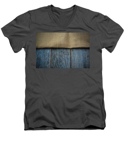 Burlap Texture On Wooden Table Background Men's V-Neck T-Shirt