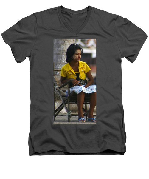 Burmese Girl With Traditional Thanaka Face Painting Sitting On Chair Yangon Myanmar Men's V-Neck T-Shirt