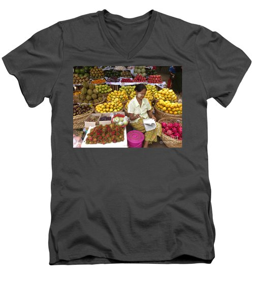 Burmese Lady Selling Colourful Fresh Fruit Zay Cho Street Market 27th Street Mandalay Burma Men's V-Neck T-Shirt