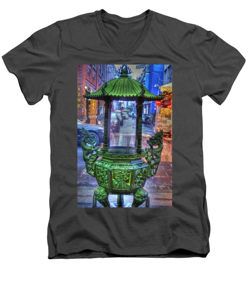 Burning Incense Men's V-Neck T-Shirt