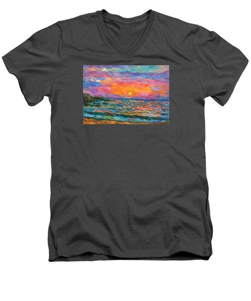 Burning Shore Men's V-Neck T-Shirt by Kendall Kessler