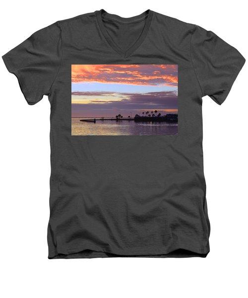 Burning Sky Men's V-Neck T-Shirt by Leticia Latocki