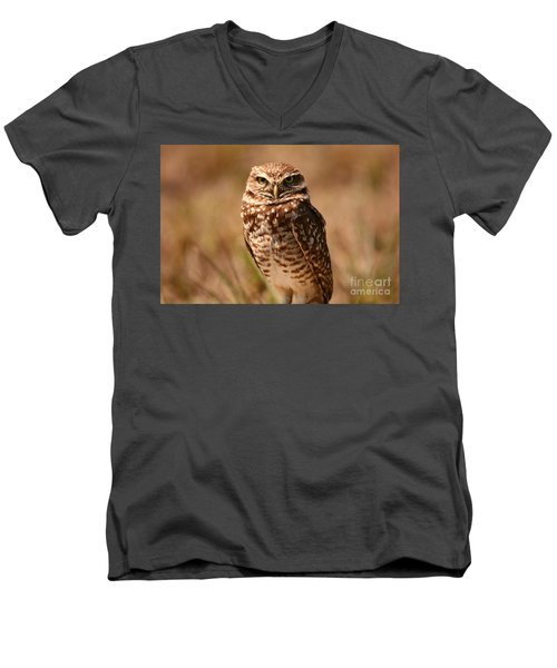 Men's V-Neck T-Shirt featuring the photograph Burrowing Owl Impressions by John F Tsumas