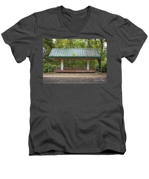 Bus Stop Bench In The Rainforest  Men's V-Neck T-Shirt