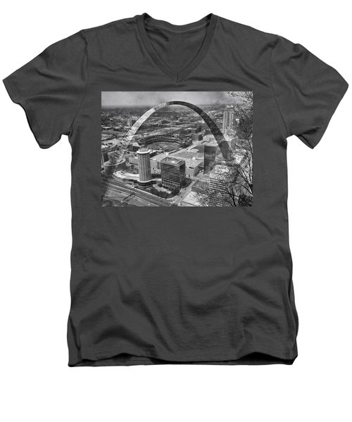 Busch Stadium Bw A View From The Arch Merged Image Men's V-Neck T-Shirt