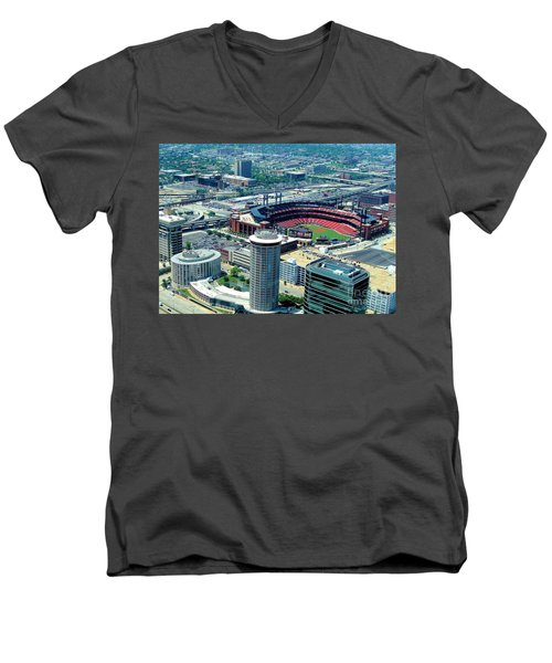 Men's V-Neck T-Shirt featuring the photograph Busch Stadium From The Top Of The Arch by Janette Boyd
