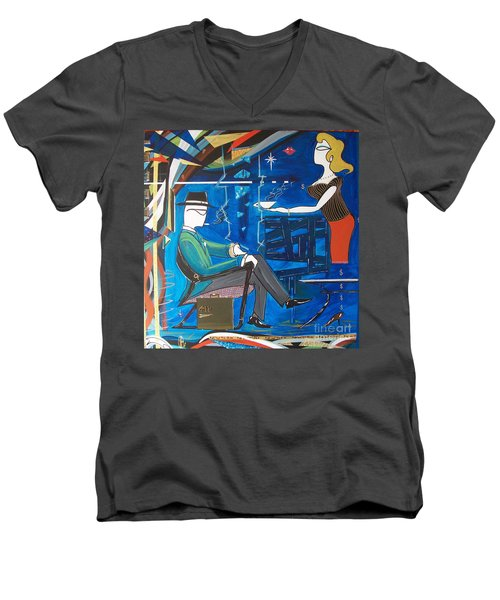 Businessman Sitting In Chair Men's V-Neck T-Shirt