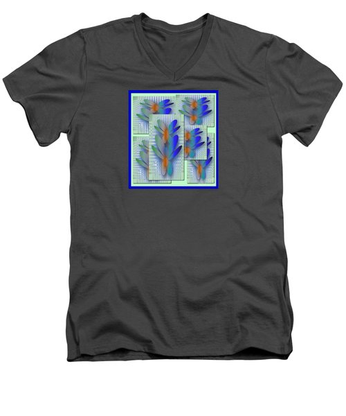 Men's V-Neck T-Shirt featuring the drawing Butterflies 2 by Iris Gelbart