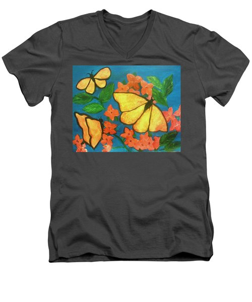 Butterflies Men's V-Neck T-Shirt by Christy Saunders Church