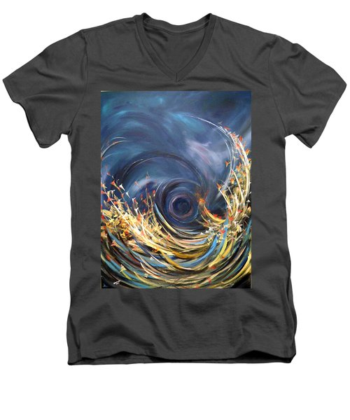 Men's V-Neck T-Shirt featuring the painting Butterflies Migration by Dorothy Maier