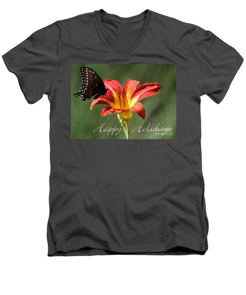 Butterfly And Lily Holiday Card Men's V-Neck T-Shirt