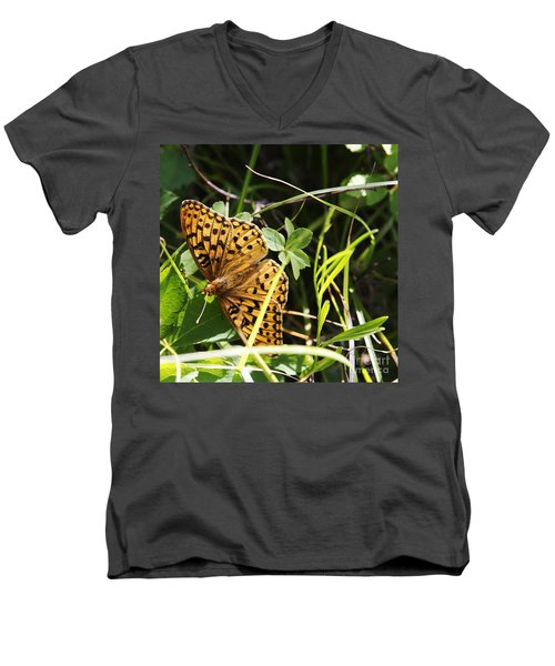 Butterfly At Signal Mountain Men's V-Neck T-Shirt by Belinda Greb
