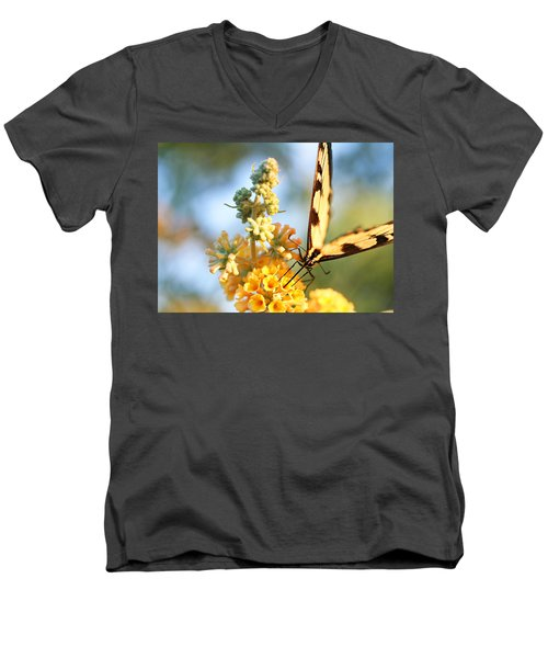 Men's V-Neck T-Shirt featuring the photograph Butterfly At Work by Trina  Ansel