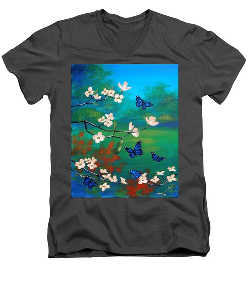 Butterfly Blue Men's V-Neck T-Shirt