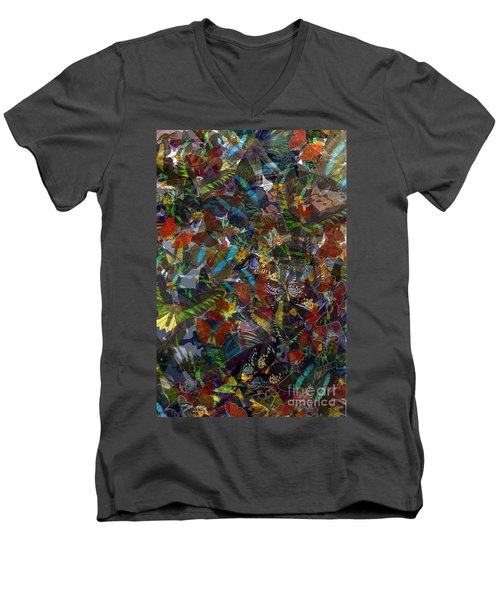 Men's V-Neck T-Shirt featuring the photograph Butterfly Collage by Robert Meanor