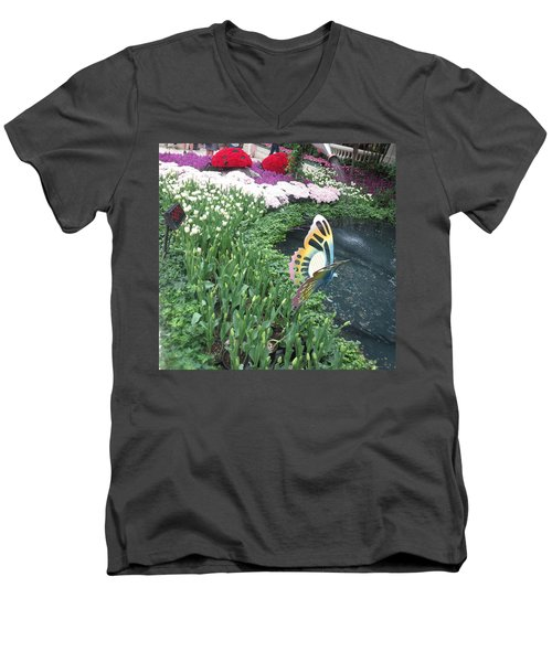 Men's V-Neck T-Shirt featuring the photograph Butterfly Garden Ladybug Flowers Green Theme by Navin Joshi