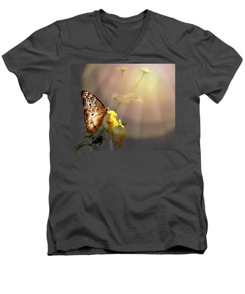 Butterfly Glow Men's V-Neck T-Shirt by Judy Vincent