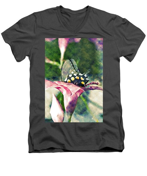 Butterfly In Flower Men's V-Neck T-Shirt