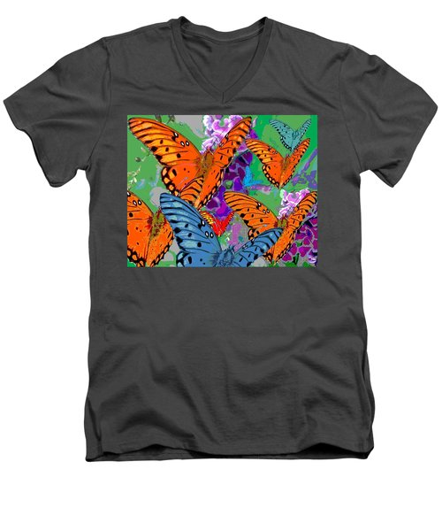 Butterfly Joy Men's V-Neck T-Shirt by Mary Armstrong