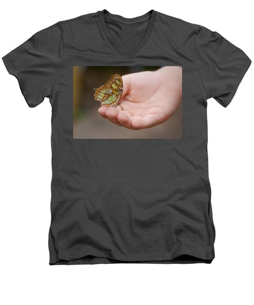 Men's V-Neck T-Shirt featuring the photograph Butterfly On Hand by Leticia Latocki