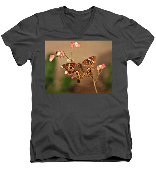 Butterfly On Pink Men's V-Neck T-Shirt