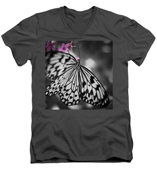 Butterfly On Pink Flowers Men's V-Neck T-Shirt