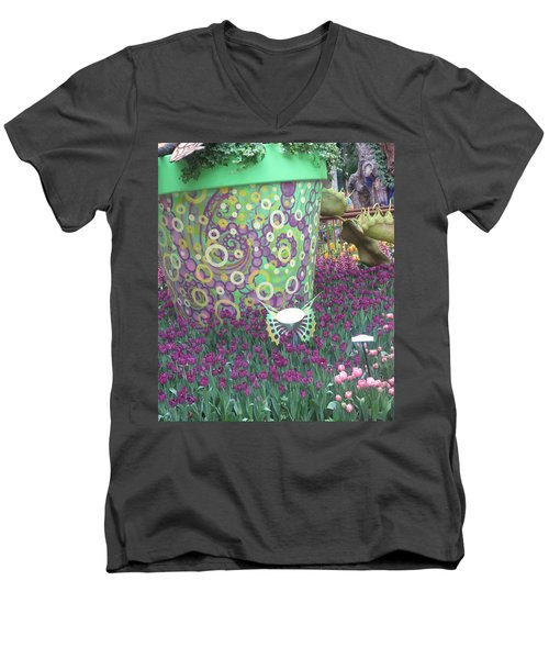 Men's V-Neck T-Shirt featuring the photograph Butterfly Park Garden Painted Green Theme by Navin Joshi