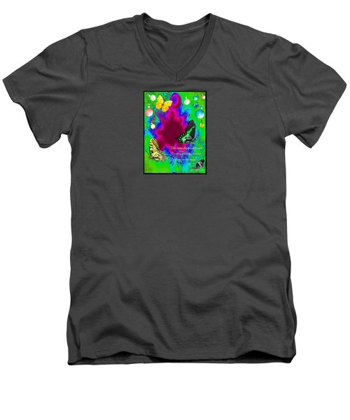 Butterfly Shows The Way Men's V-Neck T-Shirt by Bobbee Rickard