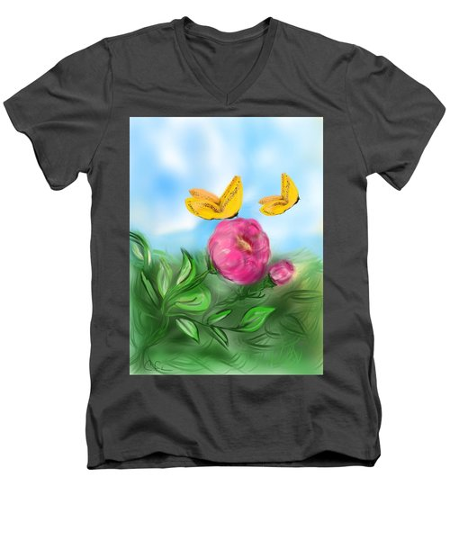 Men's V-Neck T-Shirt featuring the digital art Butterfly Twins by Christine Fournier