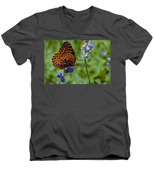 Butterfly Visit Men's V-Neck T-Shirt