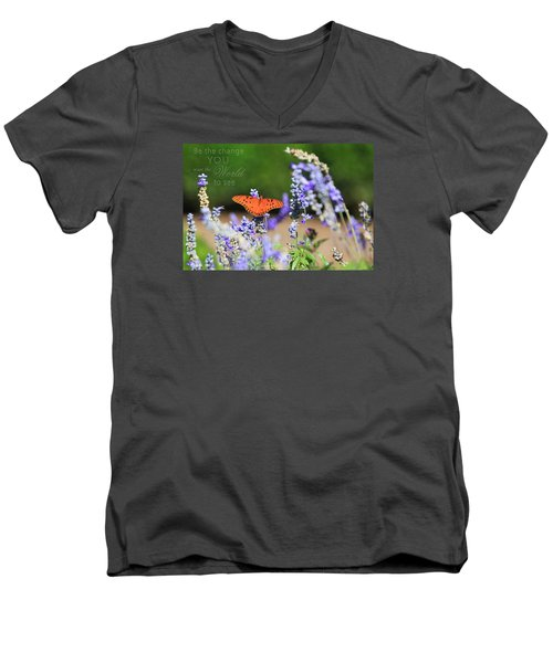 Butterfly With Message Men's V-Neck T-Shirt