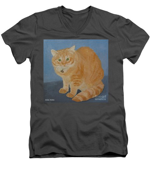 Butterscotch The Cat Men's V-Neck T-Shirt by Mini Arora