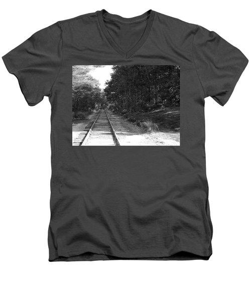 Bw Railroad Track To Somewhere Men's V-Neck T-Shirt