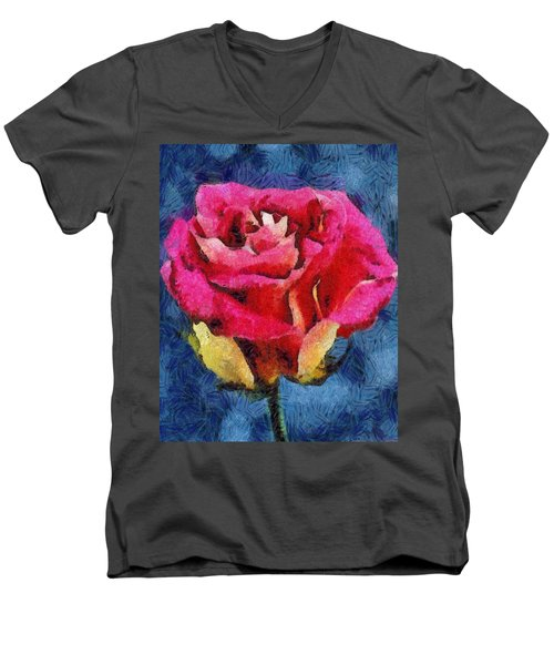 Men's V-Neck T-Shirt featuring the digital art By Any Other Name by Joe Misrasi