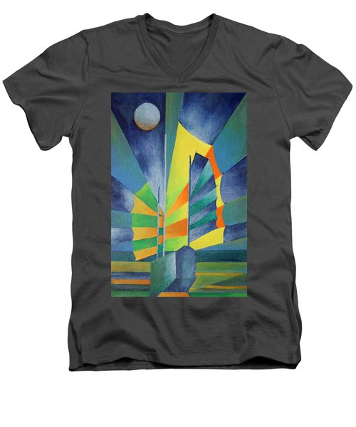 Men's V-Neck T-Shirt featuring the painting By The Light Of The Silvery Moon by Tracey Harrington-Simpson