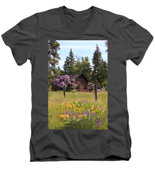 Men's V-Neck T-Shirt featuring the photograph Cabin And Wildflowers by Athena Mckinzie