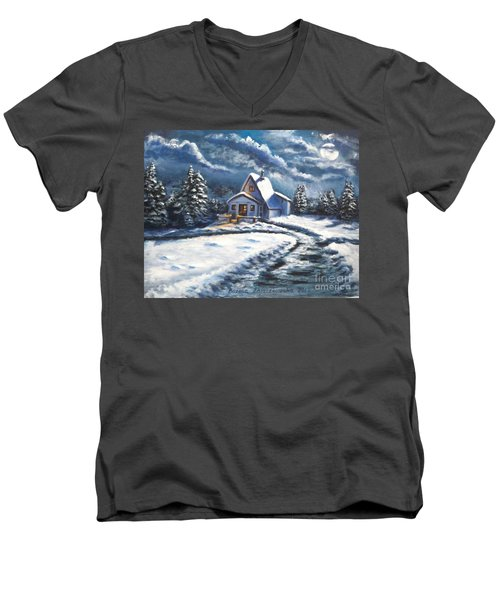 Men's V-Neck T-Shirt featuring the painting Cabin At Night by Bozena Zajaczkowska